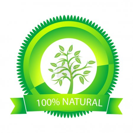 100% natural tag on white