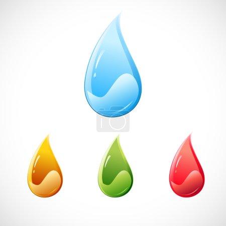 Photo pour Illustration de gouttes colorées sur fond blanc - image libre de droit
