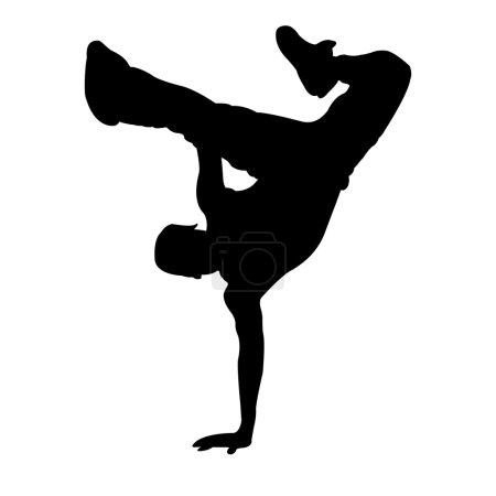 Photo pour Illustration de garçon dansant sur fond blanc - image libre de droit