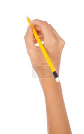 Photo for Hand holding a pencil on isolated background - Royalty Free Image