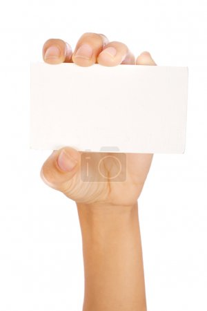 Photo for Hand holding a card isolated on white... - Royalty Free Image