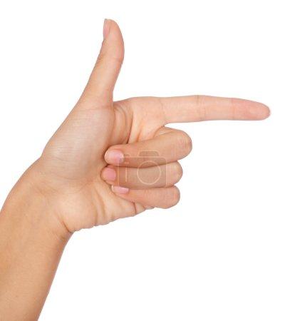 Photo pour Direction de pointage à la main isolé sur fond blanc - image libre de droit