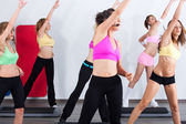Group of gym in an aerobics class