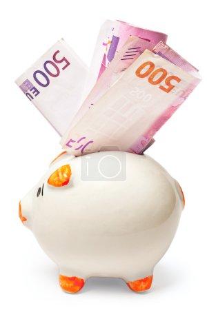 White piggy bank stuffed with euro