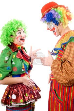 Photo pour Deux joyeux clowns. Isolé sur blanc - image libre de droit