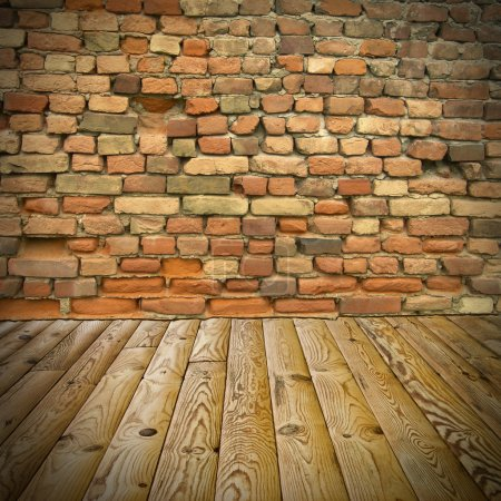 Photo for The abstract background, pine floor and brick wall - Royalty Free Image