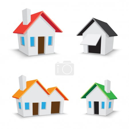 Illustration for The simple color house icons isolated on the white background - Royalty Free Image