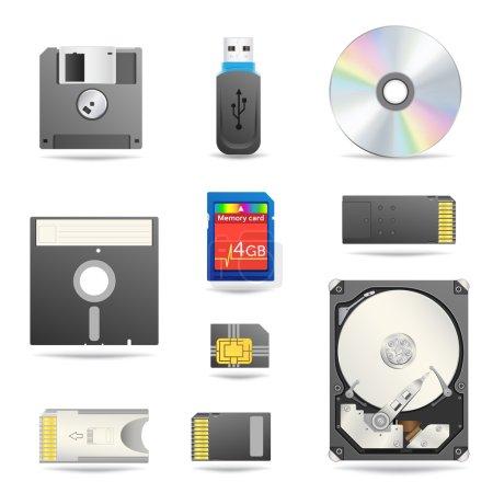 Digital data devices icon set
