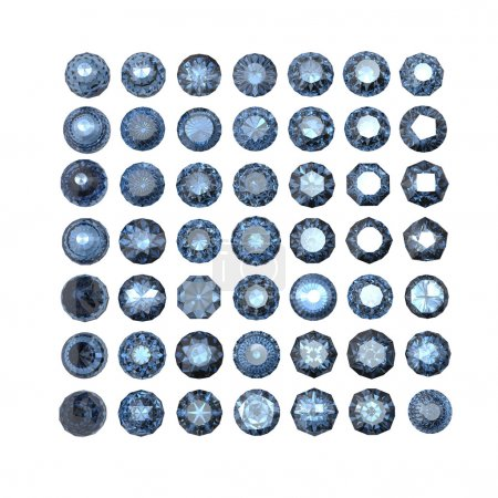 Set of round blue sapphire isolated. Gemstone cut diamond