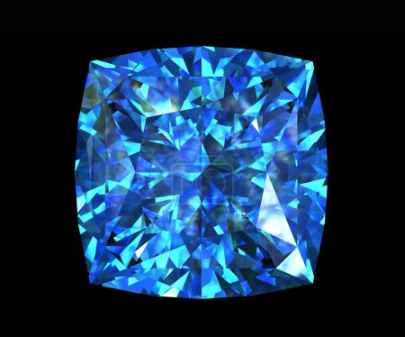 Jewelry gems shape of square. Swiss blue topaz