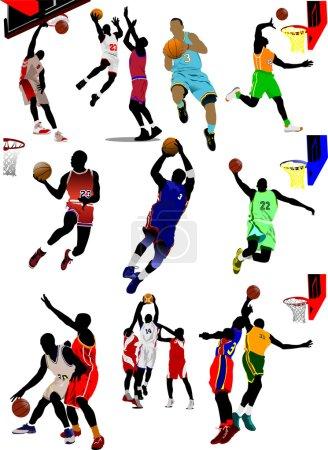 Fifteen Basketball players illustration