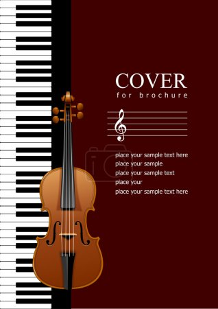 Photo for Cover for brochure with Piano with violin images. EPS 10 illustration - Royalty Free Image