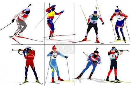 Eight biathlon runners Colored illustration