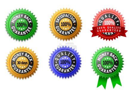 Photo pour Labels de satisfaction, de qualité et de remboursement garantis - image libre de droit
