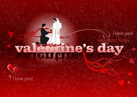 Valentine`s Day red background with bride and groom. 14 February