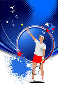 Poster of Woman Tennis player. Colored illustration for d