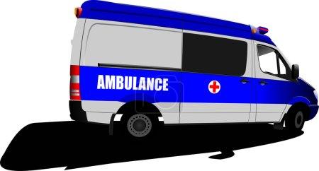 Modern ambulance van over white. Colored illustration
