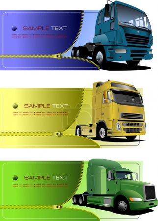 Photo pour Trois bannières à fermeture éclair avec camions. Illustration vectorielle - image libre de droit