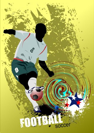 Grunge style Poster Soccer football player
