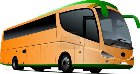 Tourist orange bus. Coach. Vector illustration