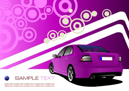 Purple business background with luxury car image. Vector illustr