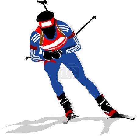 Biathlon runner colored silhouettes Vector