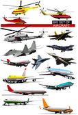 Big set of aircraft Vector illustration