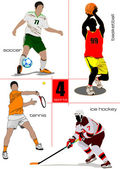 Four kinds of sport games Football Ice hockey tennis soccer