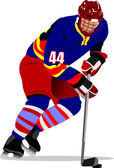 Ice hockey players Colored Vector illustration for designers