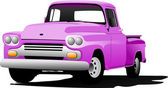 Old pink pickup with badges removed Vector illustration