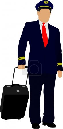 Pilot with suitcase. Vector illustration