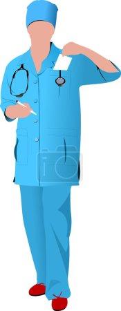 Infirmière femme avec blouse blanche de médecin. Illustration vectorielle