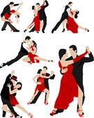 Big set of Couples dancing a tango Vector illustration