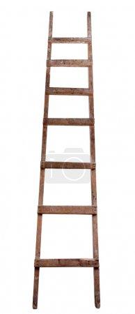 Photo pour Ancienne échelle en bois sur le fond blanc - image libre de droit