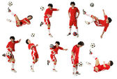 Junge mit dem Fußballball, Footballspieler