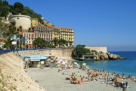 Summer beach in City of Nice, France