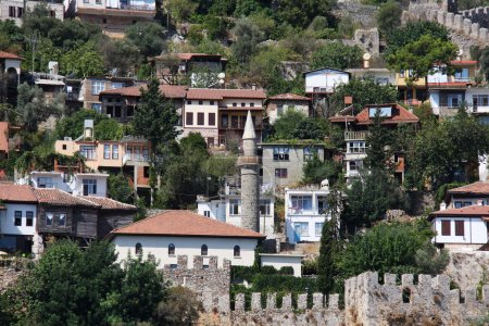 Port Alanya and red brick tower