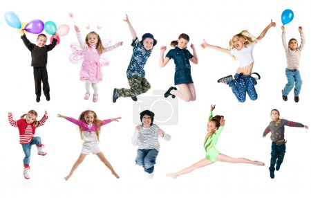Photo for Collection photos of jumping kids. Studio shot - Royalty Free Image