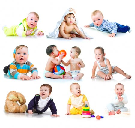 Photo for Collection photos of a toddlers on white background - Royalty Free Image