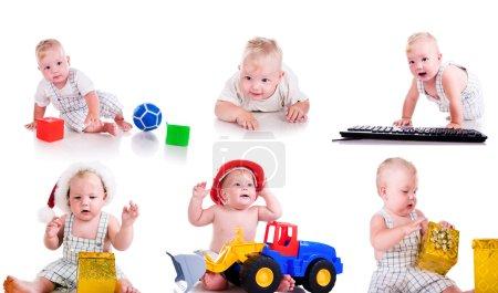 Foto de Conjunto de fotos de un lindo niño sobre fondo blanco - Imagen libre de derechos