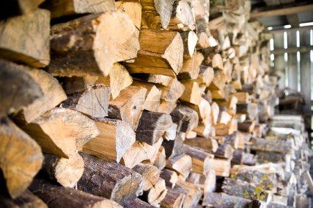 Photo pour Bois de chauffage d'un tronc d'arbre rond - image libre de droit