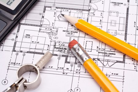 Photo for Engineering and architecture drawings with pencil - Royalty Free Image