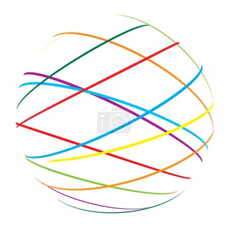 Illustration for Abstract sphere from color lines on white background - Royalty Free Image