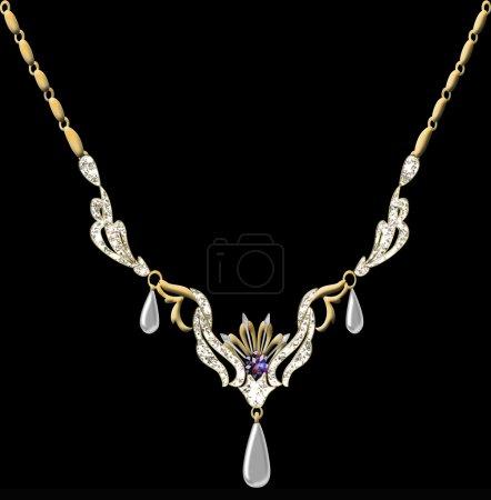 Photo pour Illustration collier pendentif mariage sur chaîne sur fond noir - image libre de droit