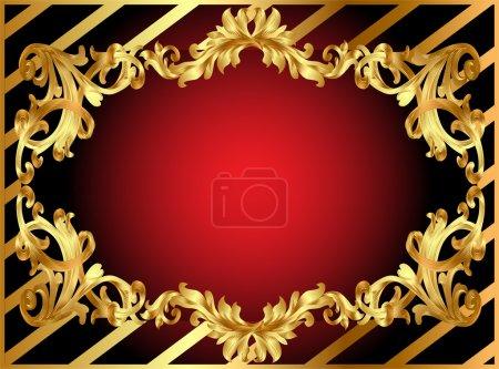 Photo pour Cadre illustration or avec motif et bande - image libre de droit