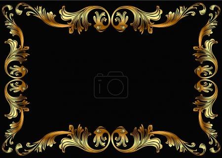 Illustration for Illustration background frame with vegetable gold(en) pattern - Royalty Free Image