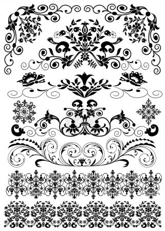 Set symmetrical black pattern is insulated