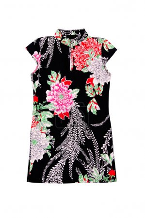 Trendy,modern tunic with flowers on a white.