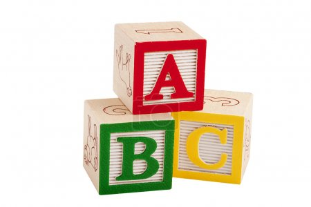 Photo for Wooden blocks with letters and numbers for the development of intelligence in children. - Royalty Free Image