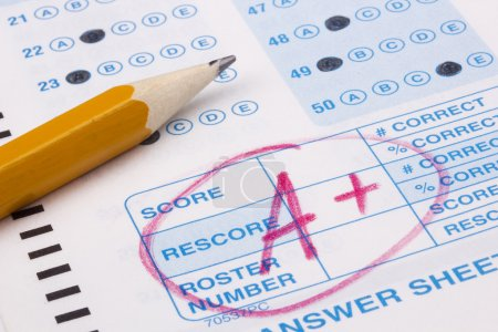 Photo for Close-up photograph of a perfect grade on a scantron test. - Royalty Free Image